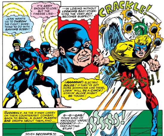 Three panels: one large rectangle, one small offset rectangle, and one unbordered space. In the first, two men in blue superhero costumes fight back to back. The first, Cyclops, thinks, 'Jean wants us to THROW the fight. Something to do with SAVING Bobby.' The other, Beast, thinks, 'It's EASY to lose! But the finesse lies--' In the offset panel, a closeup of his face, Beast continues, 'in losing without LOOKING bad! Otherwise the very act becomes suspect!' In the open panel a winged man, Angel, struggles to break free of weighted ropes. His exertions bring him to overlap with the panels to the side of and below him. He thinks, 'AAARRHH! Electric BOLOS! If they've got more gimics like these, losin' will be a CINCH! Stayin' ALIVE might be tough!'