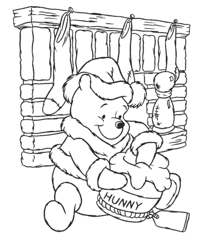 Winnie the pooh bear disney coloring pages for Ten apples up on top coloring pages
