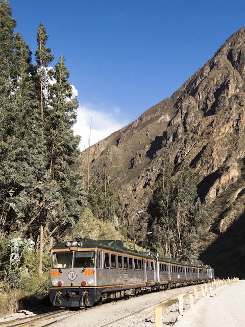 Train from Ollantaytambo to Machu Picchu in Peru