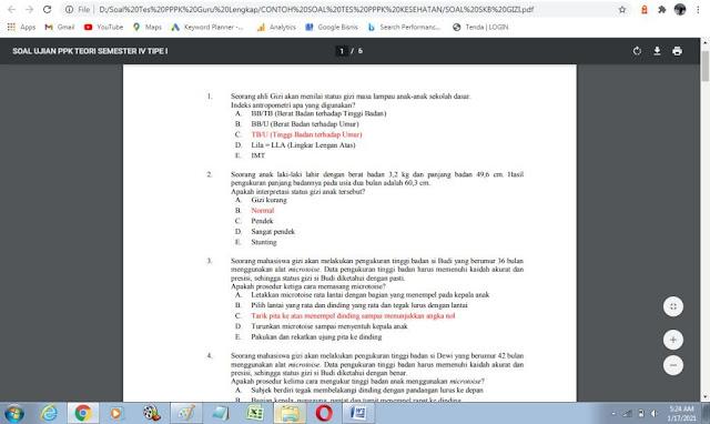 Contoh soal tes P3K bidang gizi dan kunci jawaban