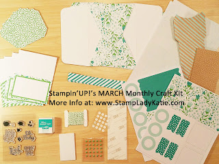 Contents of one of Stampin'UP!'s Paper Pumpkin Monthly Craft Kits