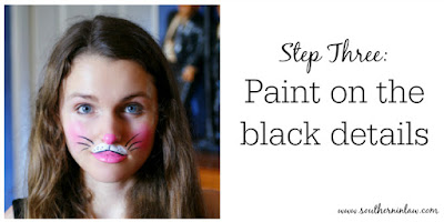 Kitten or Bunny Face Paint Step Three - Paint on the Black Details