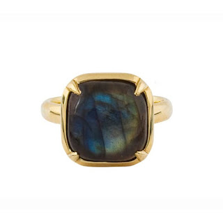 Natasha Sterling - Labradorite Ring - £1,850  This ring has a signet ring look to it and the cushion mount. I absolutely love the colour of this stone it has that magpie look that I love most in labradorite stones. This stunning stone is set in an 18ct gold ring. Natasha Sterling is a designer that mixes her GIA gemologist qualification with contemporary design and her designs are absolutely stunning. Most pieces by Natasha Sterling are by appointment only so snapping up a piece from her ready to wear collection will always be a good investment.