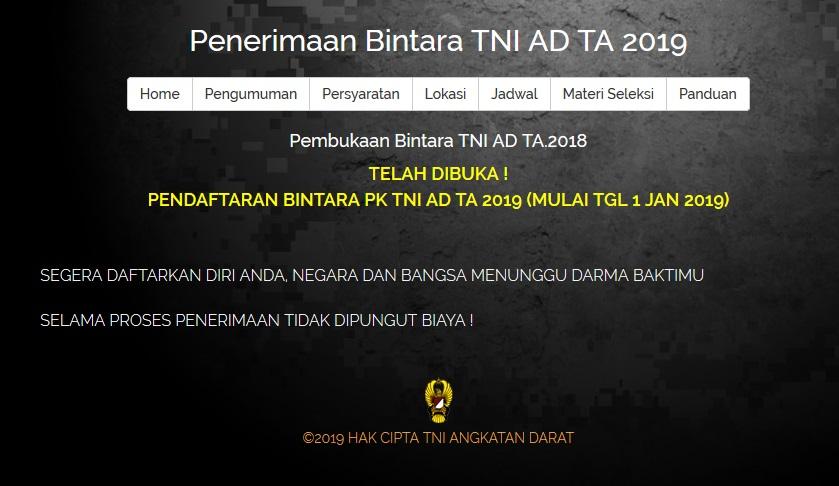 Info Pendaftaran Bintara TNI AD 2019