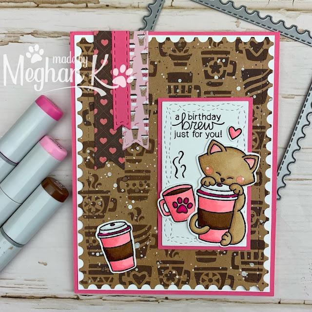 Newton Loves Coffee Cards by August Guest Designer Meghan Kennihan   Newton Loves Coffee Stamp Set & Mugs Stencil by Newton's Nook Designs #newtonsnook #handmade