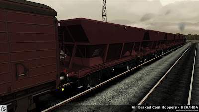 Fastline Simulation - HBA/HEA Coal Hoppers: HBA hopper wagons, newly built at Shildon and ready for their first revenue earning trip.