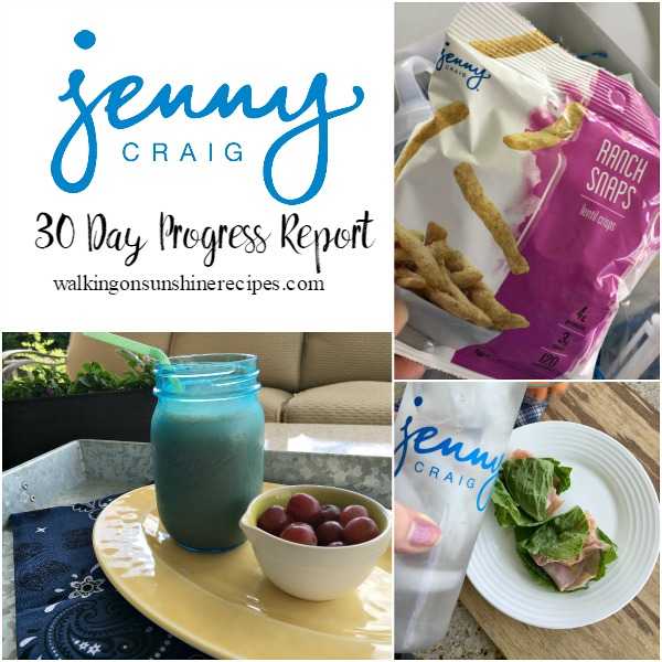 Jenny Craig Weight Loss 6 Week Progress Report from Walking on Sunshine Recipes.