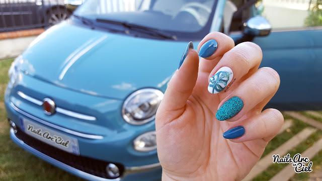 Nail art feuilles tropicales vert riviera fiat 500 anniversario par nails Arc en Ciel