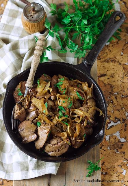 watrobka, kaczka, drob, gruszka, obiad, bernika, kulinarny pamietnik