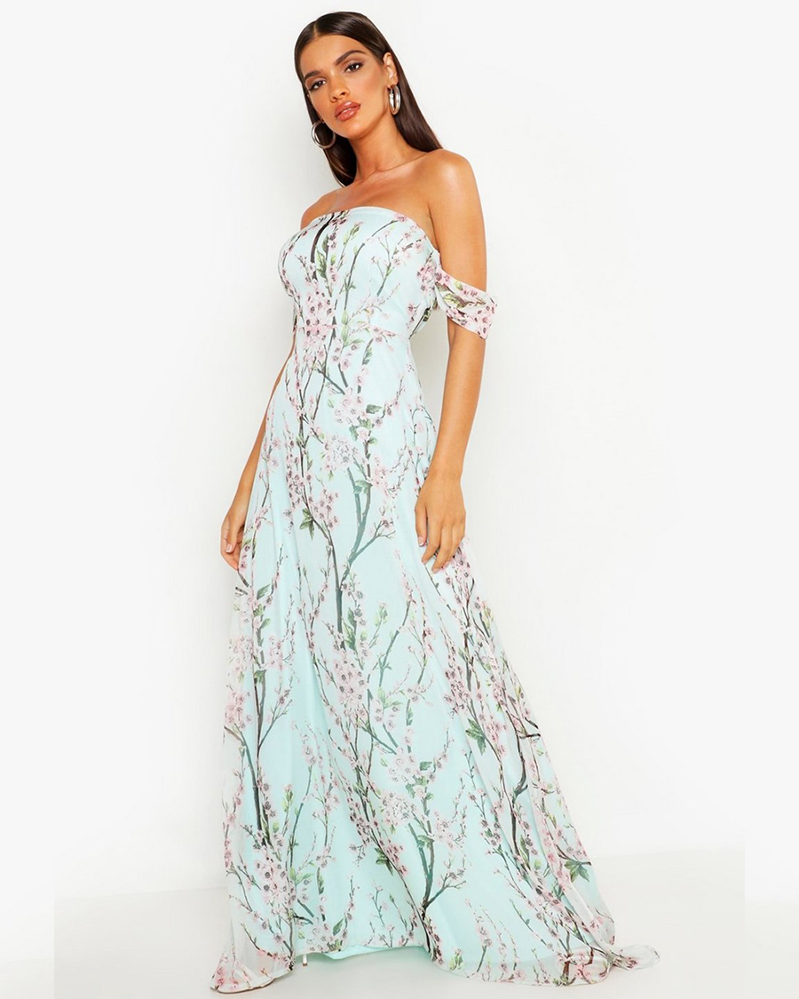 Boohoo Floral Off-the-Shoulder Maxi Dress seksi dan manis