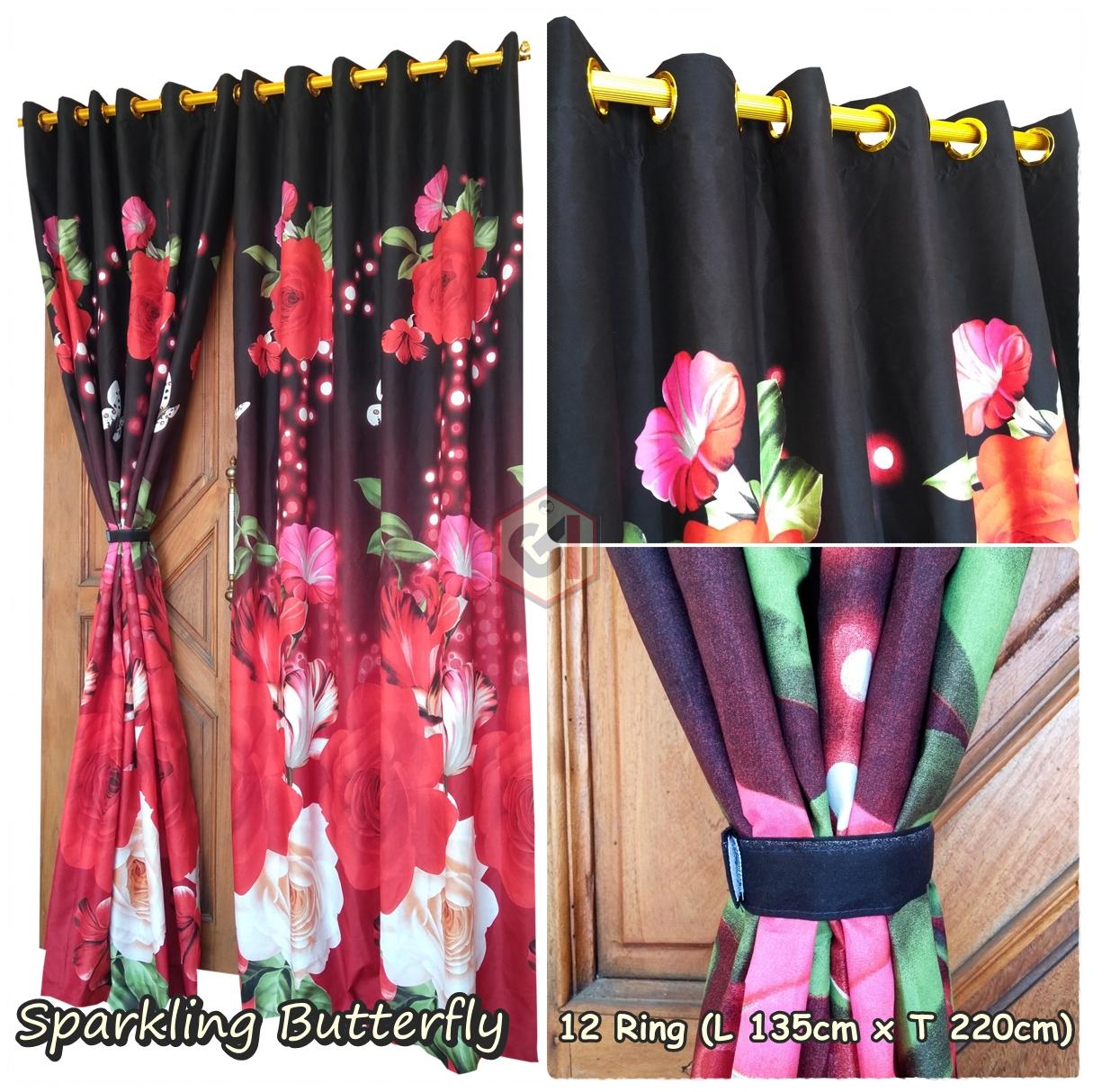 Gorden Pintu Rumah Motif Sparkling Butterfly Model Smokring 12 Ring Ukuran Panjang Murah Elegan