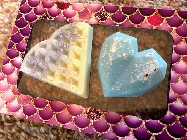 Wax melts in the shape of a waffle and diamond heart