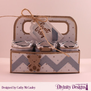 Divinity Designs Stamp Set: Sweet Baby, Paper Collection; Baby Boy, Custom Dies: Candy Carrier, Chevron Background