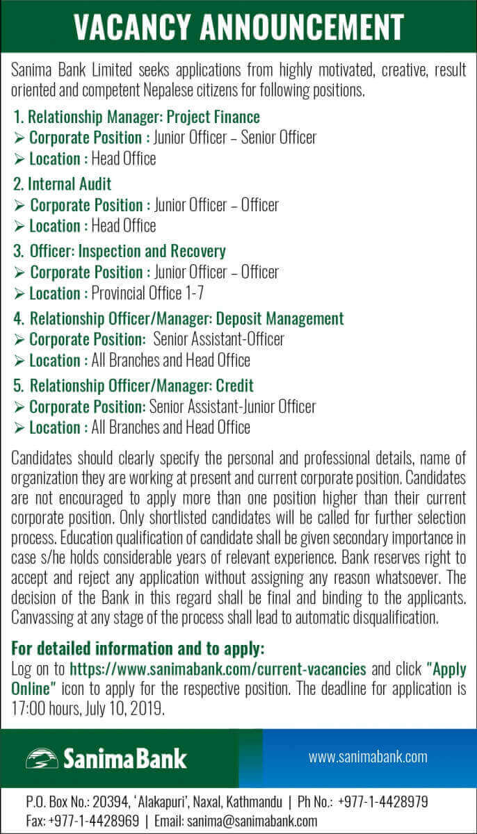 Vacancy Announcement from Sanima Bank Ltd. for Various Positions