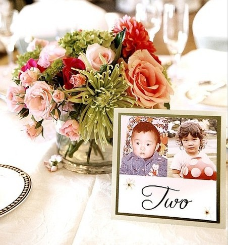 Unique Wedding Table Numbers A Picture Of The Bride And Groom At Age 2