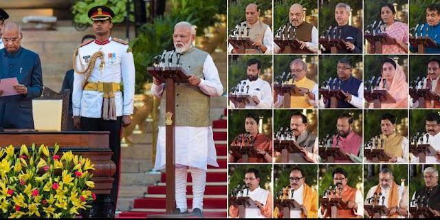 मोदी सरकार (पार्ट-2) में 24 कैबिनेट मंत्री सहित 57 मंत्री