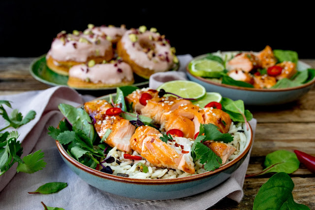 Asian salmon and pistachio rose baked doughnuts