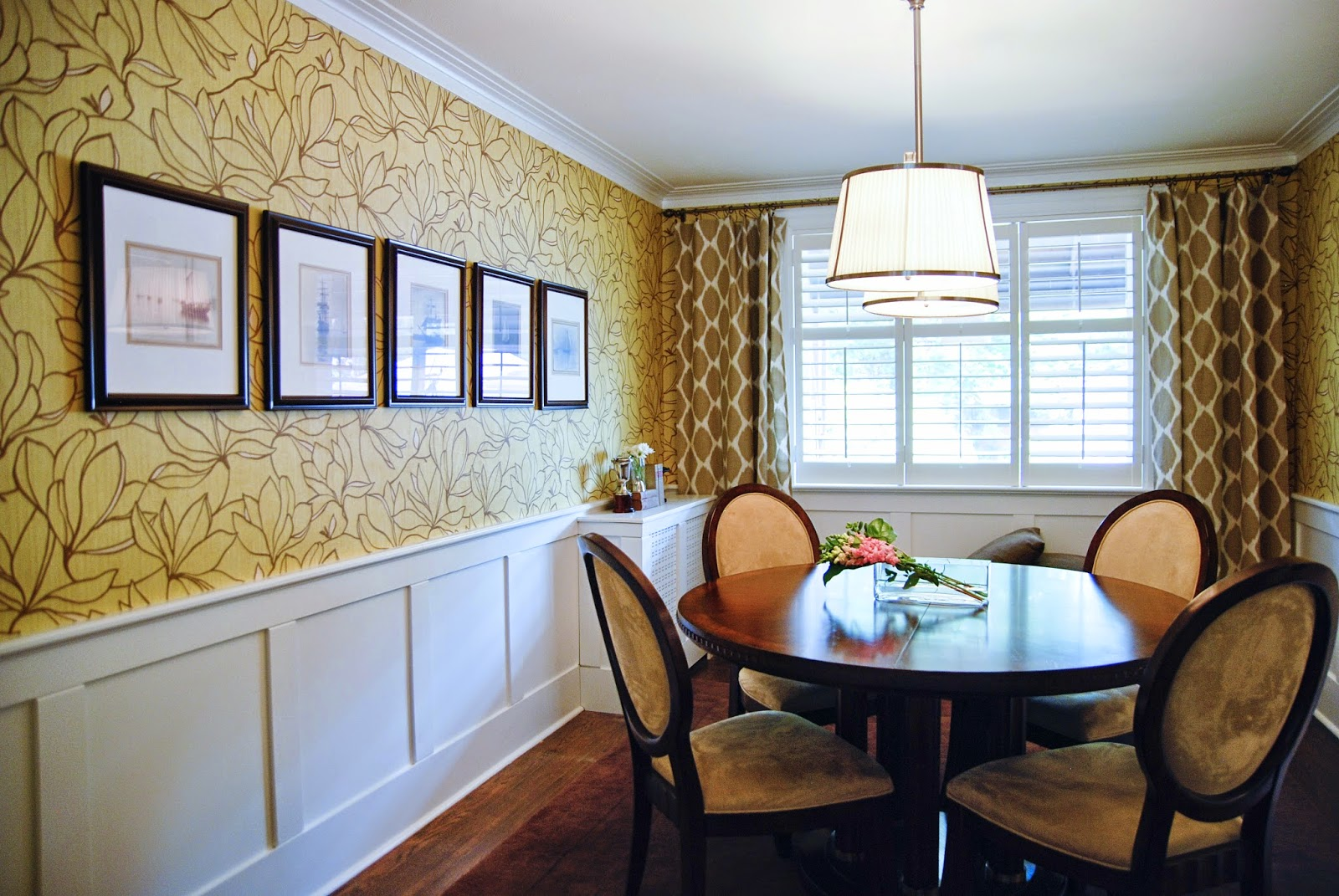 Rambling Renovators | dining room yellow wallpaper