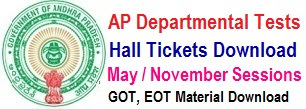 AP Departmental Test Hall Tickets 2018 May / Nov Session hall tickets