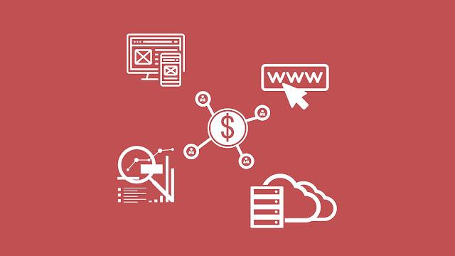 ícones: layout template, domínio web, analise de dados, servidor hospedagem e monetização