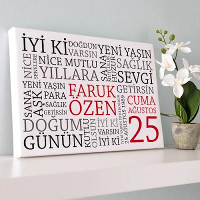 Doğum Gününe Özel Kanvas Tablo