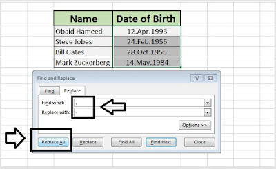 Finding and Replacing Command to Correct Date Format in Excel