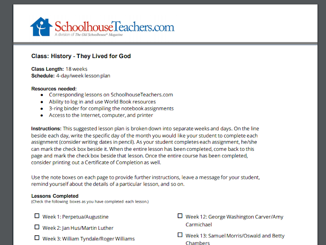 SchoolhouseTeachers.com Lesson Plan for They Lived for God