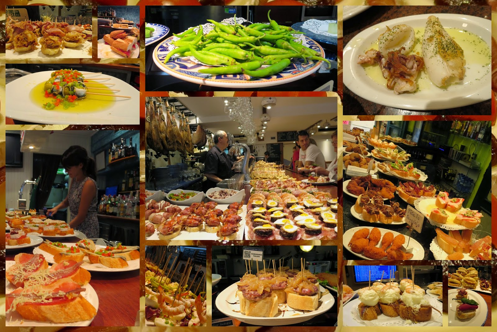 What is San Sebastián famous for? Collage of pintxos