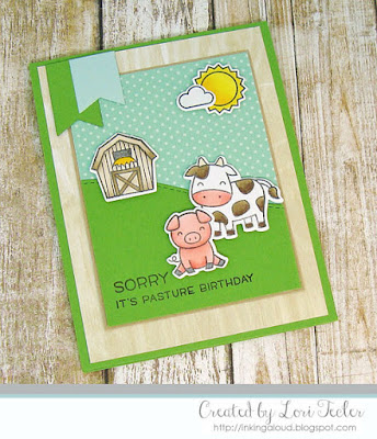 Sorry It's Pasture Birthday card-designed by Lori Tecler/Inking Aloud-stamps and dies from Lawn Fawn