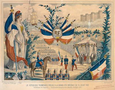 gravure ancienne des fêtes du 14 juillet 1880
