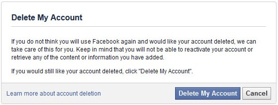 any way to completely delete facebook account