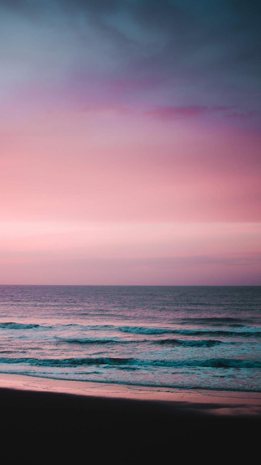 Calm beach in the twilight