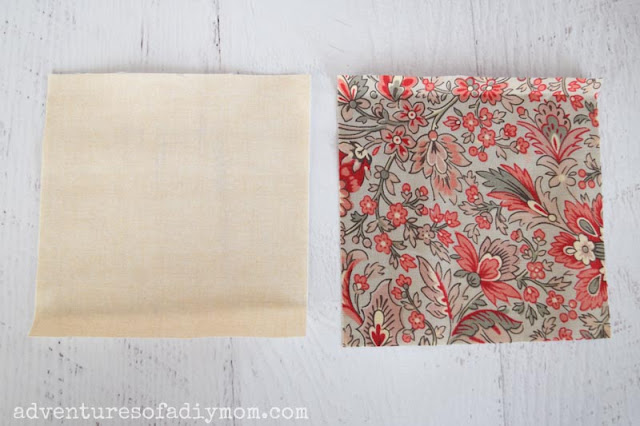 two five inch squares of fabric