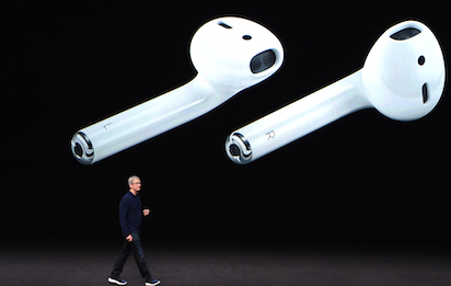 Apple CEO Tim Cook speaks during a media event at Bill Graham Civic Auditorium in San Francisco