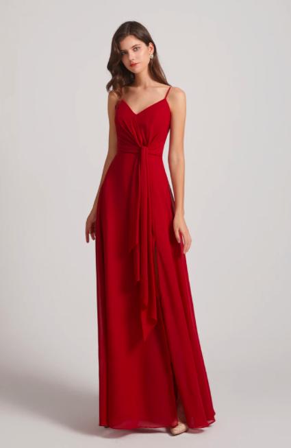 Spaghetti Straps V-neck Chiffon A-line Ruched Bridesmaid Dresses