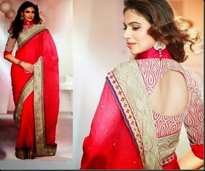 Stylish-blouse-designs-2017-saree-collection-for-wedding-13