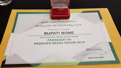 Wow, Bone Peringkat Tujuh Produksi Beras Se-Indonesia