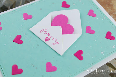 This fun card is an easy way to send lots of love to someone far away.  Using the Fun Stampers Journey Baby Envelope die, and Mini Greetings stamps.  Also using the Bunch of Hearts Die that you can get for FREE with an order of $75 or more.