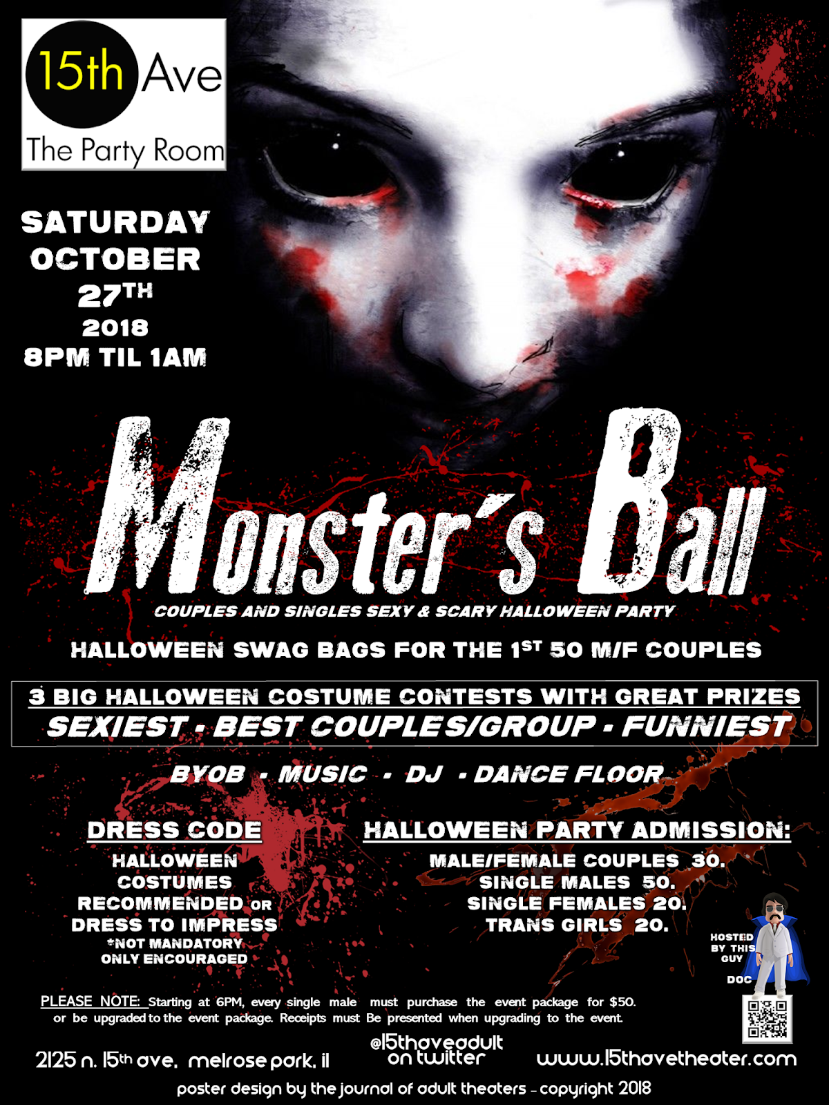Monster's Ball Halloween Party at 15th Ave. Adult Theater in Chicago