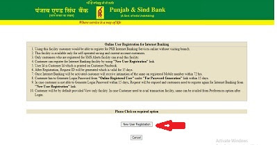 How to activate Internet banking in Punjab & Sind Bank Online?