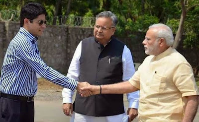 Chhattisgarh IAS officer Amit Kataria with PM Narendra Modi