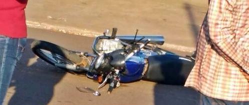 Roncador: Motociclista fica ferido em acidente na Santo Antônio