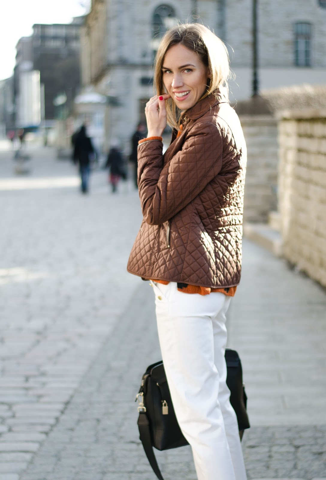 kristjaana mere massimo dutti brown quilted jacket white trousersoutfit