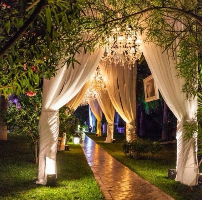Intimate Backyard Outdoor Wedding Decor During Night