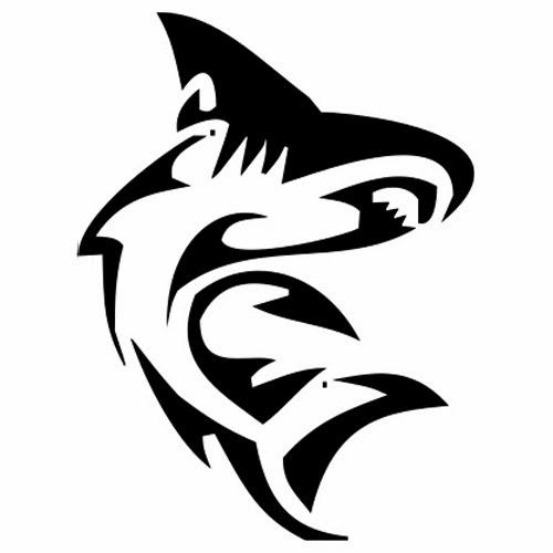 Shark tribal tattoo stencil