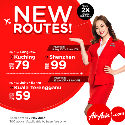 AirAsia New Routes Direct Flight Ticket Discount Promo