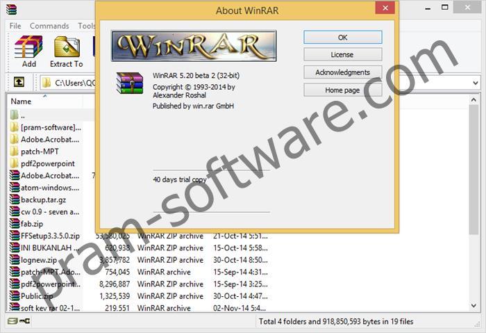 Screenshot WinRAR 5.21