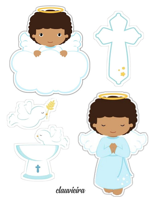 Afro Angel Praying: Free Toppers for Cupcakes or Cakes