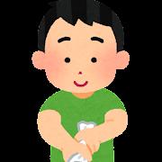 雑巾を絞る人のイラスト(縦絞り)