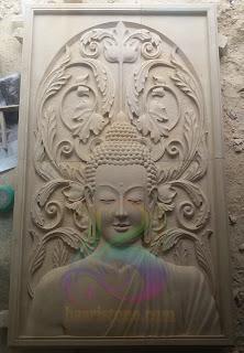 relief batu alam paras motif budha